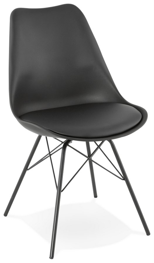 Abdabs Furniture All Black Plastic Seat Dining Chair With Metal Legs