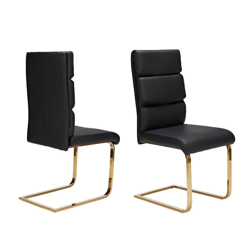 Antibes Black Faux Leather Dining Chairs with Gold Legs - Set of Two