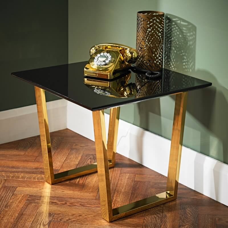 Antibes Black High Gloss Lamp Table with Gold Legs