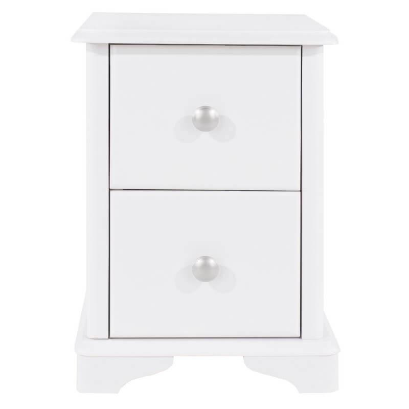 Arabella White Painted 2 Drawer Compact Bedside Cabinet