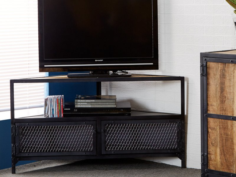 Ascot Industrial Corner TV - Reclaimed Metal & Aged Metal