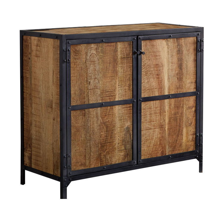 Ascot Industrial Small Sideboard Reclaimed Metal & Aged Wood