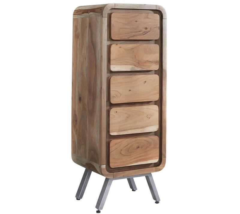 Aspen 5 Drawer Tall Chest - Solid Hardwood & Reclaimed Metal