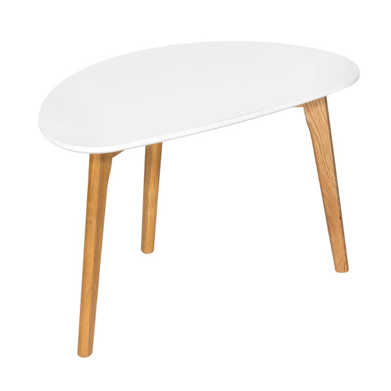 Astro Coffee Table White with Wooden Legs