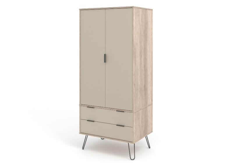 Augusta 2 Door 2 Drawer Wardrobe Driftwood Metal Legs