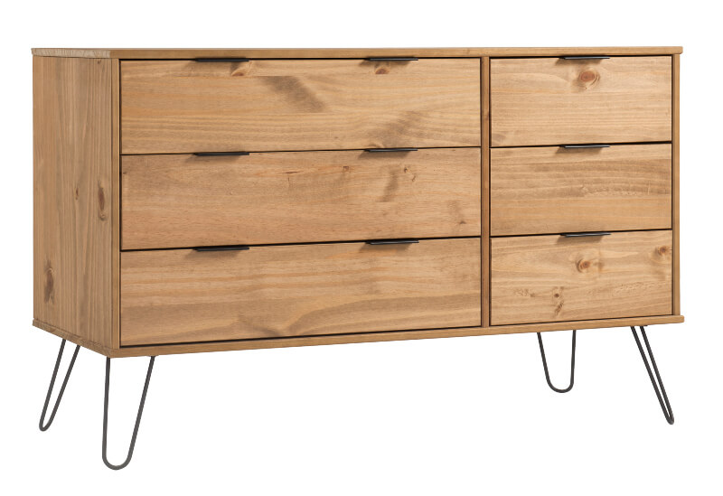 Augusta 3 + 3 Drawer Wide Contemporary Pine Chest with Metal Legs
