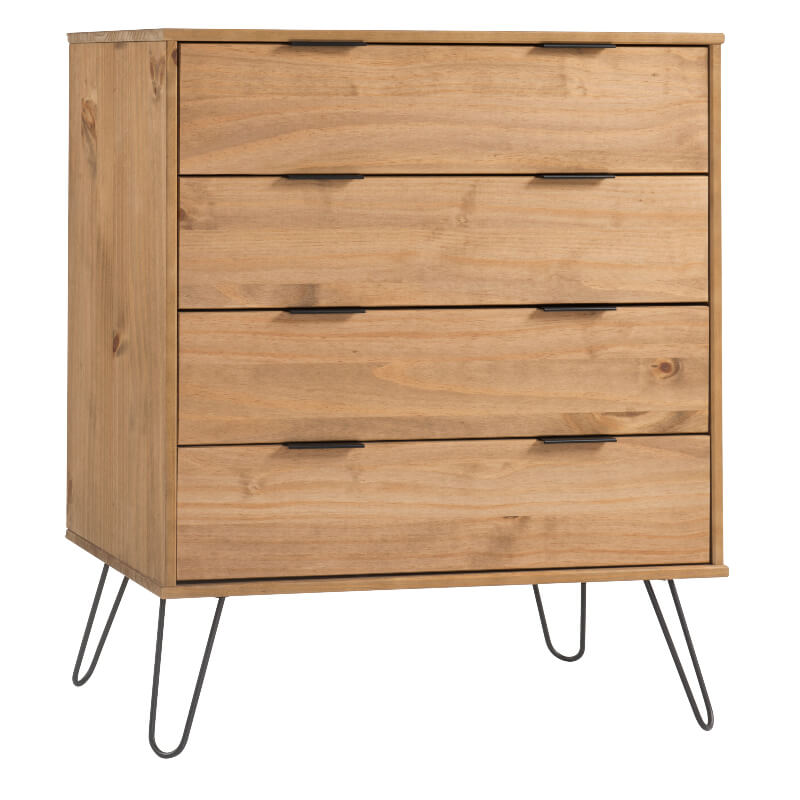 Augusta 4 Drawer Contemporary Pine Chest of Drawers with Metal Legs