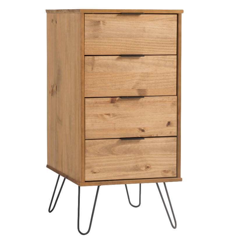 Augusta 4 Drawer Narrow Contemporary Pine Chest of Drawers with Metal Legs