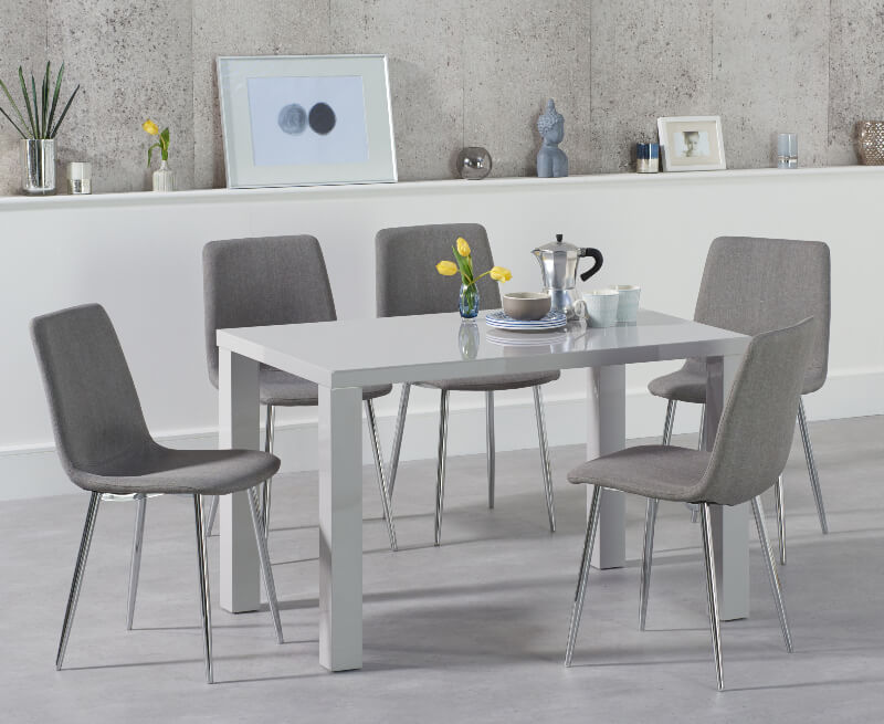 Abdabs Furniture Ava 120 Cm Dining Table Light Grey High Gloss With 4 Hatfield Grey Fabric Chairs