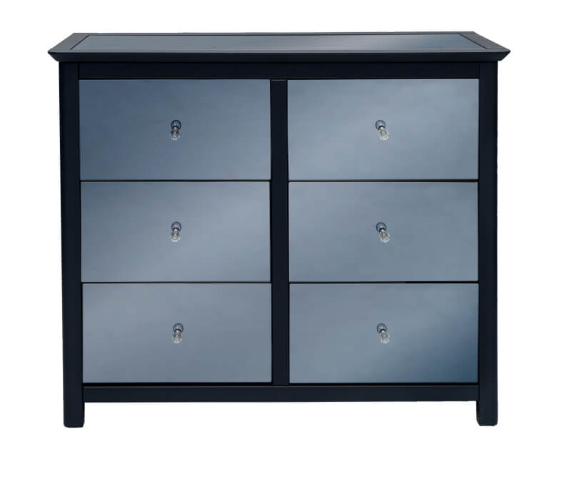 Ayr Carbon Painted Mirrored Glass 3 + 3 Drawer Wide Chest