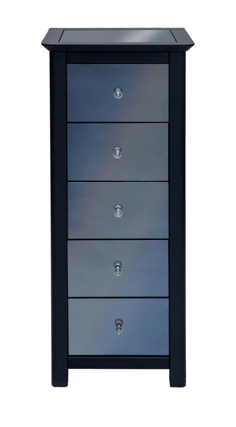 Ayr Carbon Painted Mirrored Glass 5 Drawer Narrow Chest