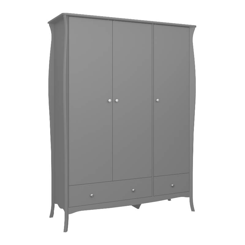 Baroque Grey 3 Door 3 Drawer Wardrobe