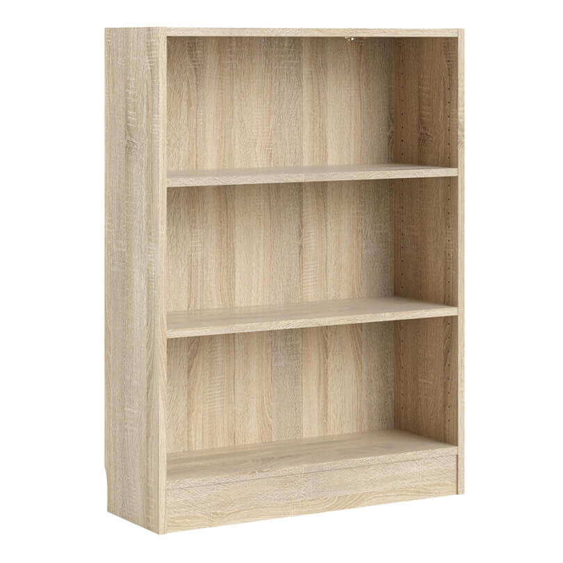Basic Low Wide Bookcase in Oak Woodgrain Finish
