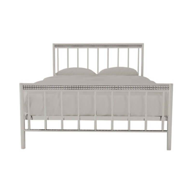 Bellini Metal Silver Double Bed Frame with Crystal Embellishments