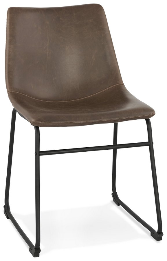 Superb Biff Brown Faux Leather Industrial Style Dining Chair Spiritservingveterans Wood Chair Design Ideas Spiritservingveteransorg