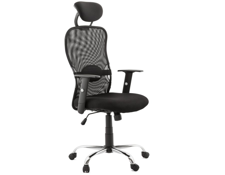 KD Black Mesh Office Chair with Headrest