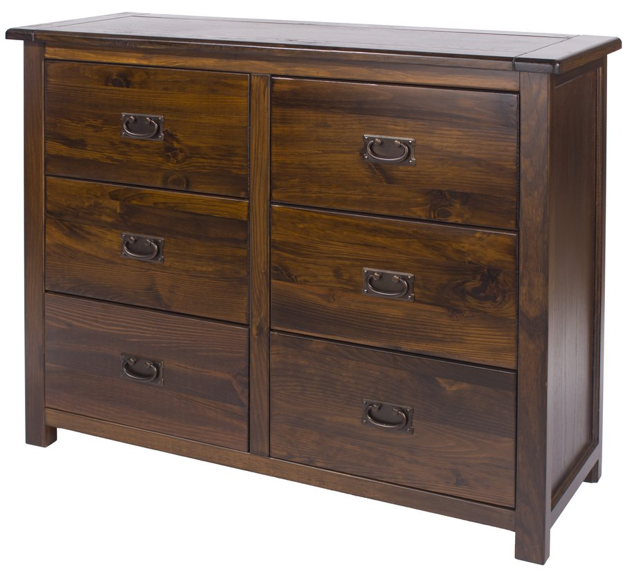 Boston Country House Dark Wide Chest of Drawers