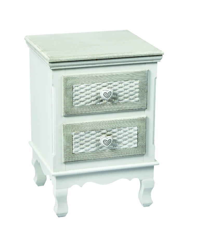 Brittany Shabby Chic 2 Drawer Bedside White and Grey