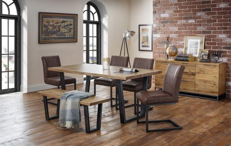 Brooklyn Oak Dining Table with 4 Chairs & Bench
