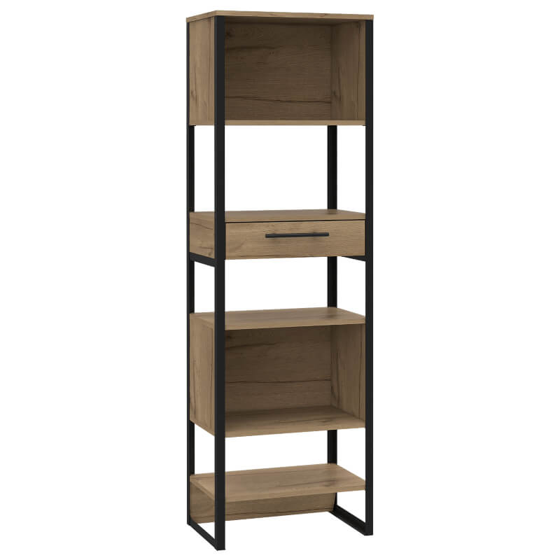Brooklyn Tall Narrow Bookcase with 1 Drawer Metal & Pine Effect