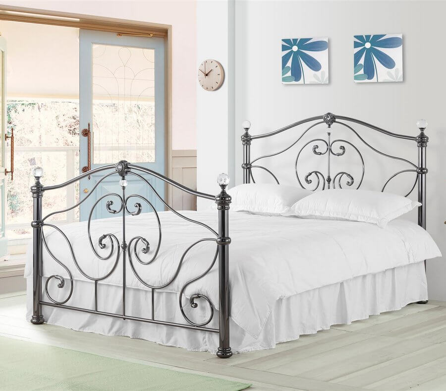 Cadiz Black Nickel Metal Bed Frame - King-Size