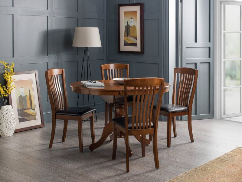 Abdabs Furniture Canterbury Mahogany Round Extending Dining Table Four Chairs