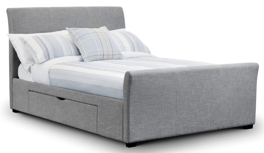 Abdabs Furniture - Capri Light Grey Fabric Bed with Drawers - King-Size