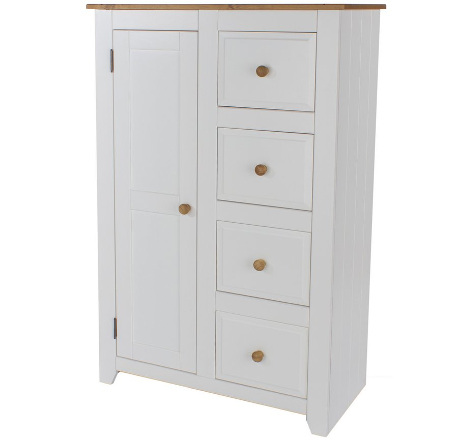 Abdabs furniture capri white tallboy Short wardrobe with drawers