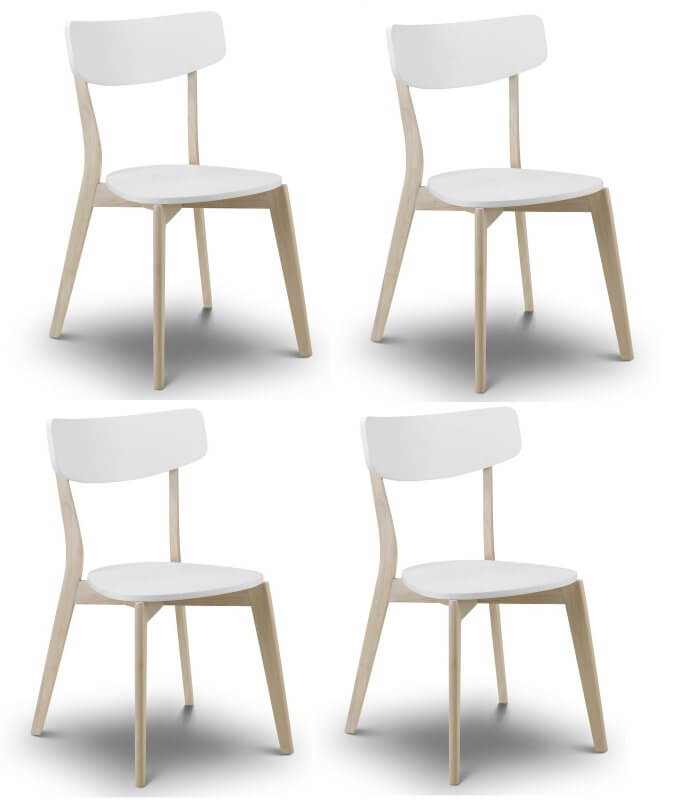 Casa Retro White & Oak Dining Chairs - Set of 4