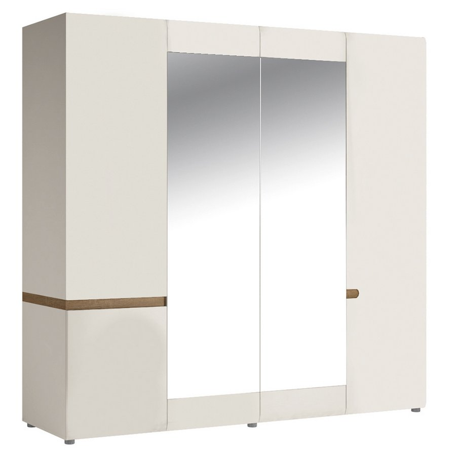 Chelsea 4 Door Wardrobe with Mirrors - White with Truffle Oak Trim