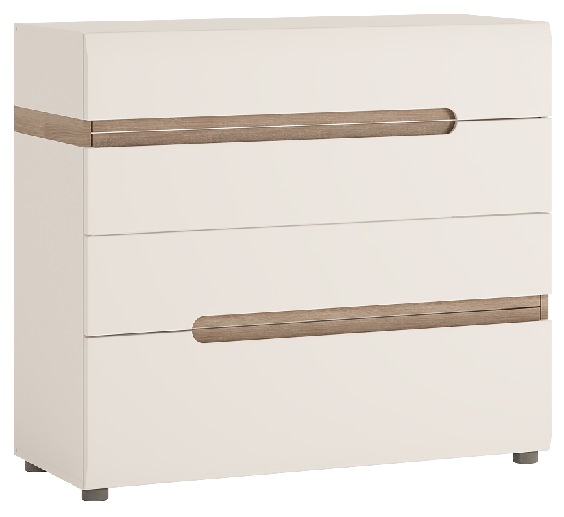 Chelsea Chest of Drawers - Gloss White With Oak Trim