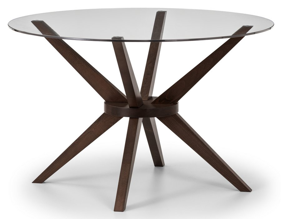 Chelsea Glass Top Round Dining Table with Walnut Finish Base