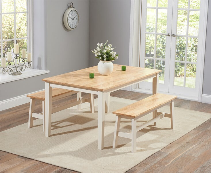 Chichester 150 cm Dining Table with 2 Large Benches