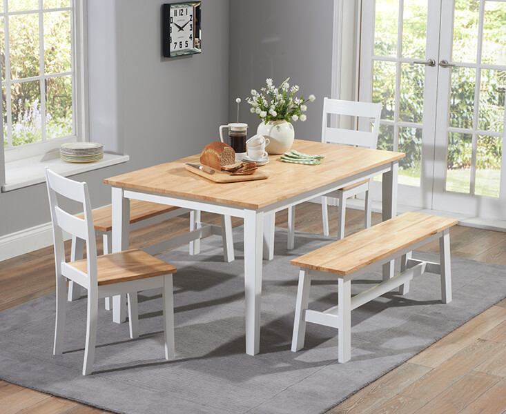 Chichester 150 Cm Dining Table With 2 Chairs Large Benches