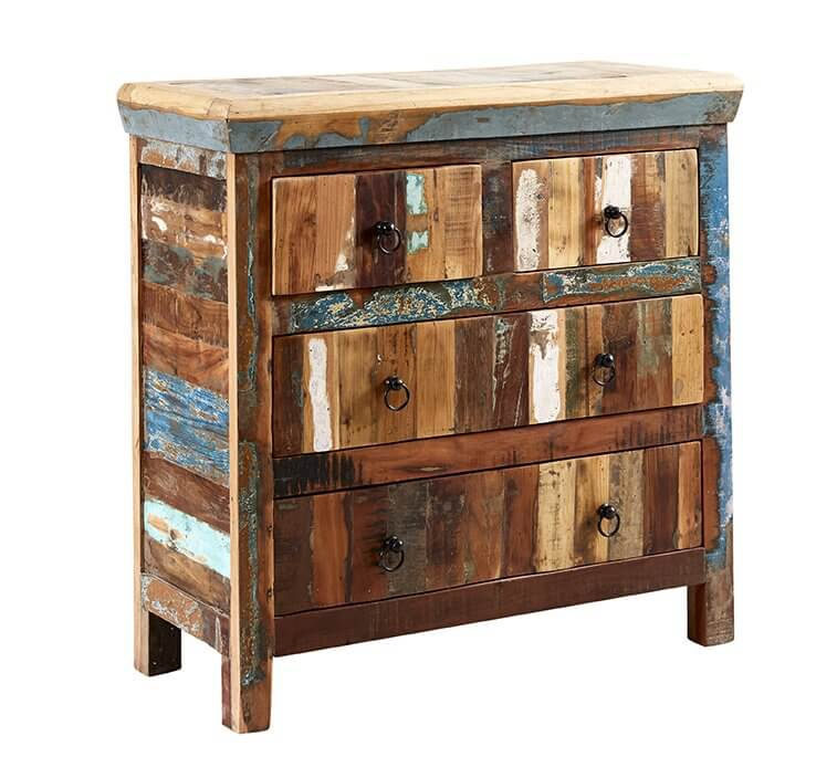 Coastal 4 Drawer Chest  - Rustic Reclaimed Wood