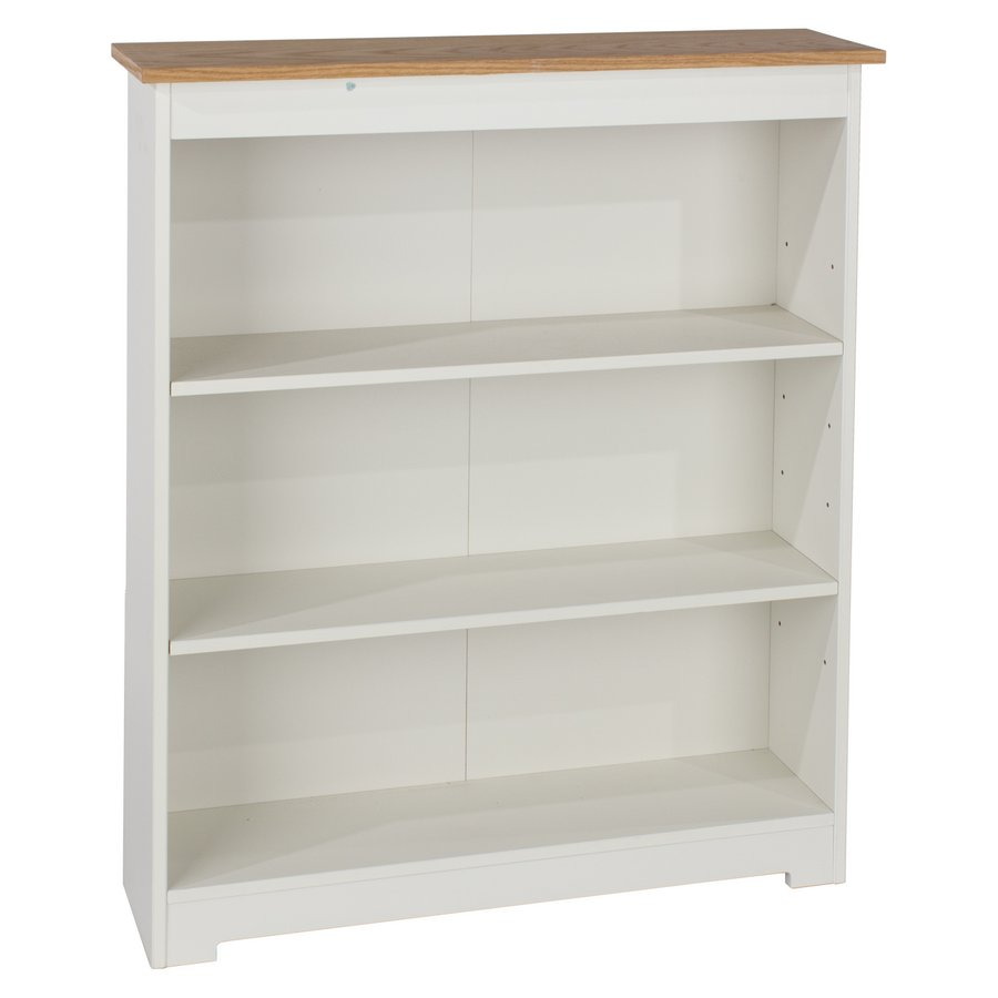 Colorado Warm White Low Wide Bookcase