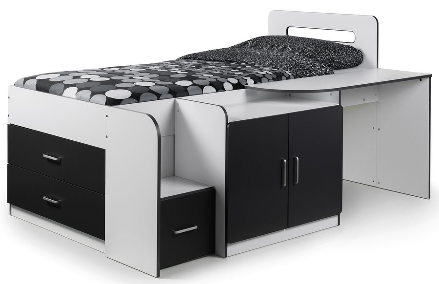 Cookie White & Black Cabin Bed with Desk, Drawers & Cupboard