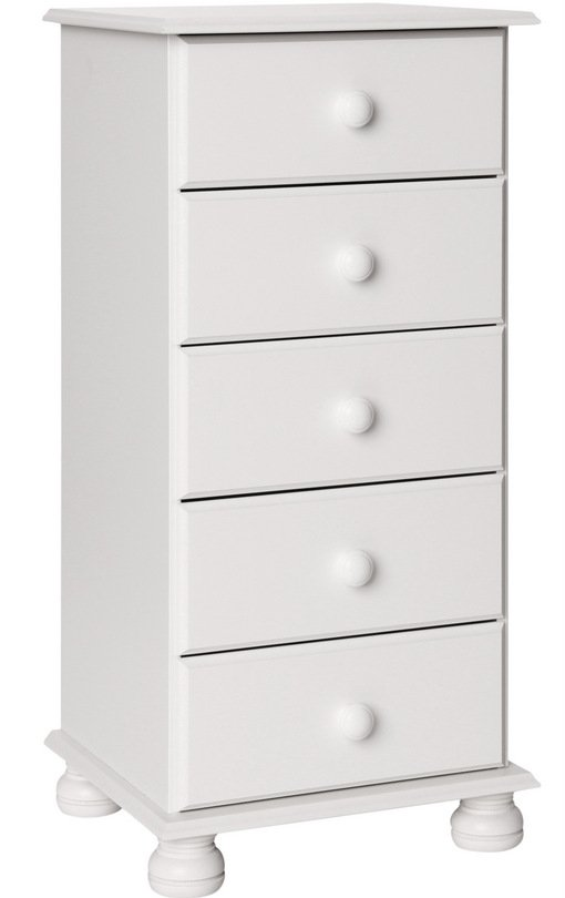 Copenhagen White 5 Drawer Narrow Chest
