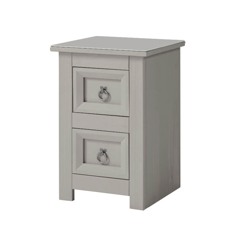Corona Compact Grey 2 Drawer Petite Bedside Cabinet with Glass Top