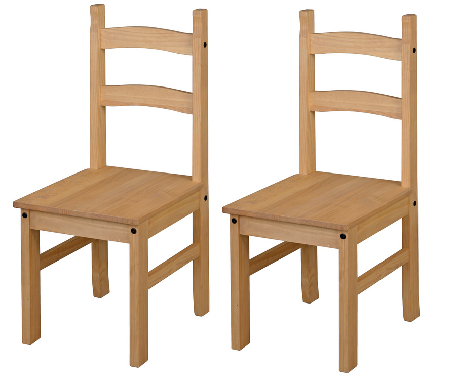 Corona Solid Pine Dining Chairs   Pair