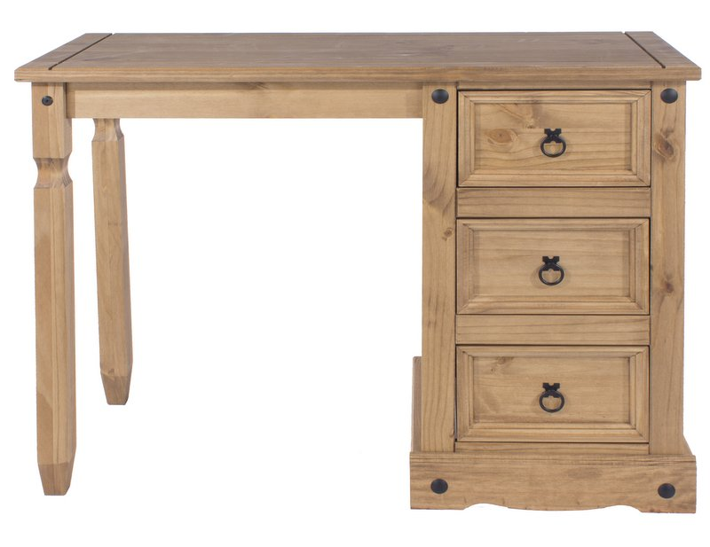 Corona Pine Single Pedestal Dressing Table