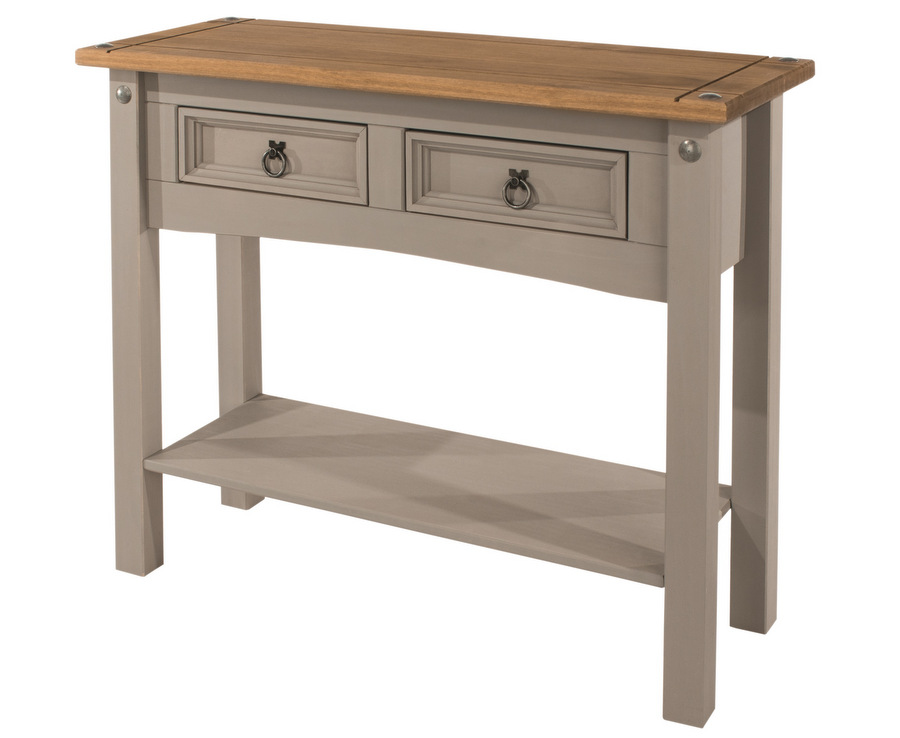Corona Grey Washed 2 Drawer Hall Table with Shelf