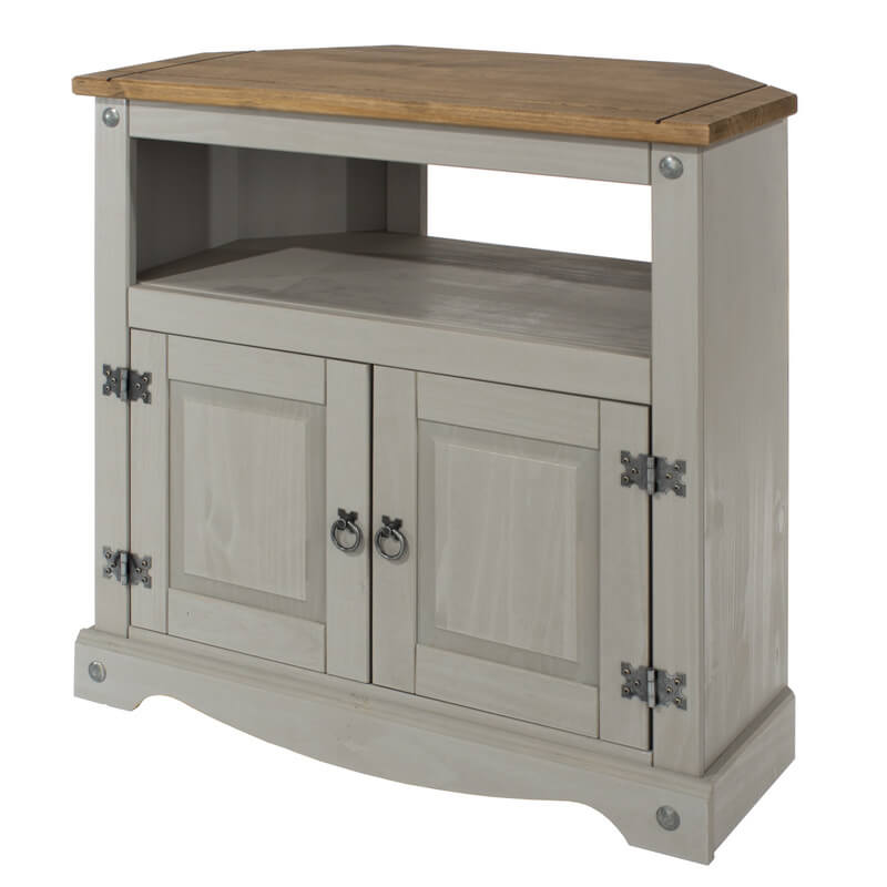 brand new 8d385 d8a02 Corona Grey Washed Corner TV Cabinet
