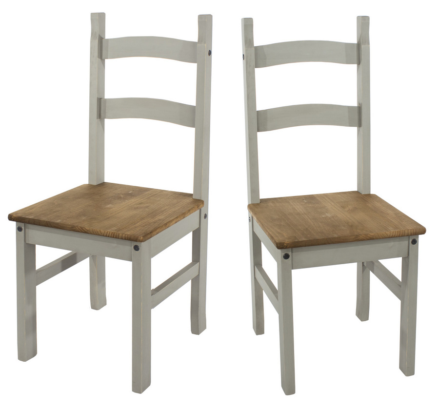 Corona Grey Washed Dining Chairs - Pair