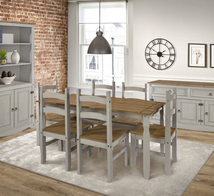 Corona Grey Washed Rectangular 150 cm Dining Table & 6 Chair Set