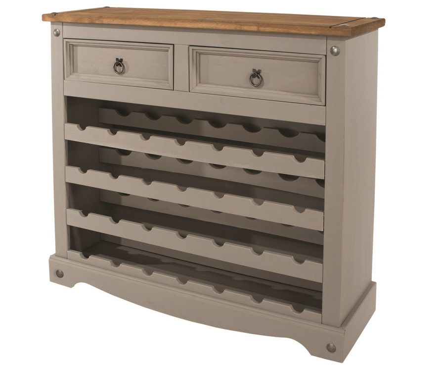 27231e38f022 Abdabs Furniture - Corona Grey Washed Large Wine Rack