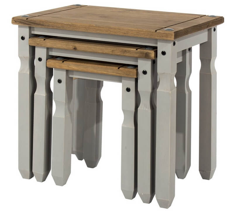 Corona Grey Washed Nest of Tables