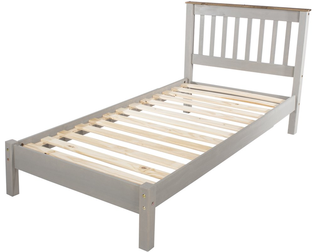 Corona Grey Washed Single Bed Frame