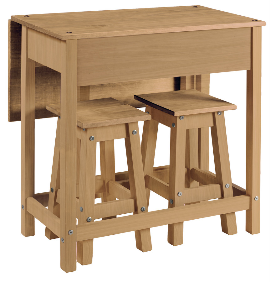 Corona Pine Breakfast Drop Leaf Table & 2 Stool Set