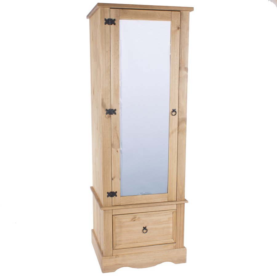 Corona Pine Single Wardrobe with Mirrored Door